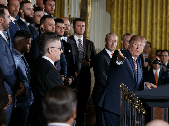 President Donald Trump speaks during a ceremony honoring the World Series Champion Houston Astros, in the East Room of the White House, Monday, March 12, 2018, in Washington. (AP Photo/Evan Vucci)