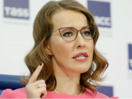 MOSCOW, RUSSIA - FEBRUARY 20, 2018: Presidential candidate for the Grazhdanskaya Initsiativa Party, Ksenia Sobchak, speaks during a press conference; Russia is to hold a presidential election on March 18, 2018. Artyom Geodakyan/TASS (Photo by Artyom Geodakyan\TASS via Getty Images)