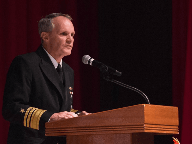 Vice Adm. Phillip G. Sawyer addresses attendees of the USS John S. McCain Memorial Service at Fleet Activities Yokosuka, Japan on Oct. 4, 2017. MCC Elijah G. Leinaar—U.S. Navy