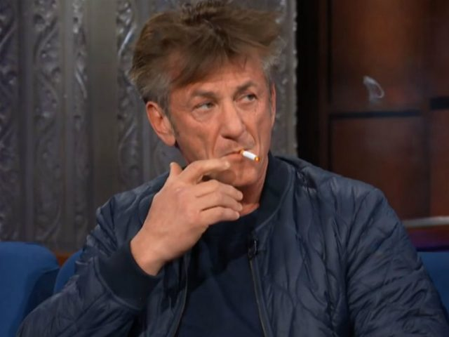 Sean Penn smokes cigarettes during late-night talk show appearance