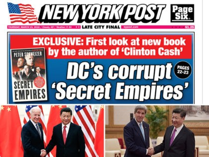 "New York Post cover featuring the Peter Schweizer book ""Secret Empires."" Photos: former Vice President Joe Biden and former Secretary of State John Kerry shake hands with Chinese President Xi Jinping."