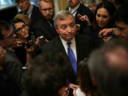 WASHINGTON, DC - JANUARY 23: U.S. Senate Minority Whip Sen. Dick Durbin (D-IL) speaks to members of the media after a weekly Senate Democratic Policy Luncheon January 23, 2018 at the U.S. Capitol in Washington, DC. Senate Democrats held a policy luncheon to discuss the Democratic agenda. (Photo by Alex …