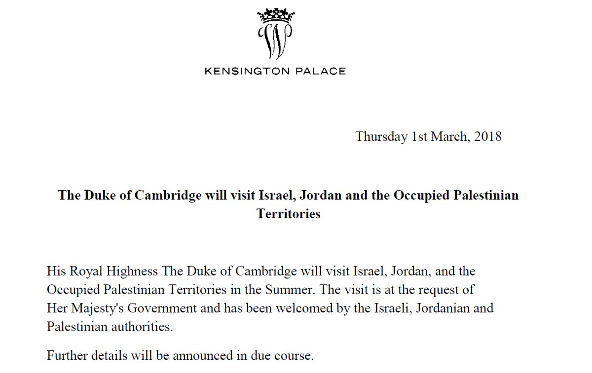 Prince William To Become First Senior Royal To Visit Occupied Palestinian Territories