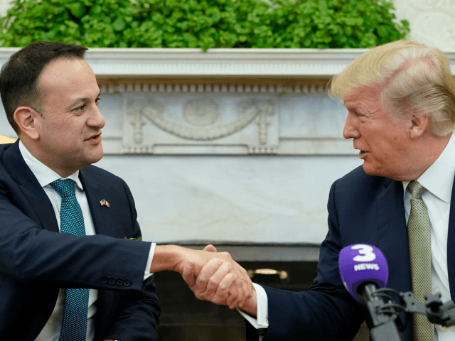 US President Donald Trump shakes hands with Ireland's Prime Minister Leo Varadkar (L) during a bilateral in the Oval Office of the White House on March 15, 2018 in Washington, DC. / AFP PHOTO / MANDEL NGAN (Photo credit should read MANDEL NGAN/AFP/Getty Images)