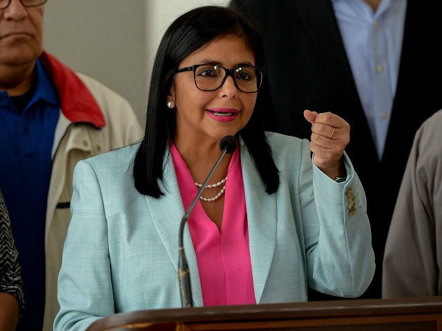 The president of Venezuela's Constituent Assembly, Delcy Rodriguez speaks during a press conference after holding a meeting with the Truth Commission, at the Foreign Ministry in Caracas on December 23, 2017. The Truth Commission recommended the release of more than 80 opponents, arrested during several protests against President Nicolas Maduro …