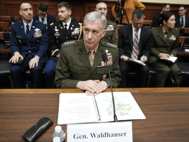 "Marine Gen. Thomas Waldhauser takes his seat before testifying at a hearing before the House Armed Services Committee on Capitol Hill in Washington, Tuesday, March 6, 2016, about ""National Security Challenges and U.S. Military Activities in Africa."" A military investigation into the Niger attack that killed four American service members …"