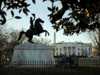 WASHINGTON, DC - JANUARY 20: A statue of Andrew Jackson at the Battle of New Orleans occupies the center of Lafayette Square on the north side of the White House January 20, 2018 in Washington, DC. The federal government was partially shut down at midnight after Republicans and Democrats in the Senate failed to find common ground on a budget. (Photo by Chip Somodevilla/Getty Images)