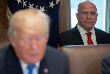 National Security Adviser H.R. McMaster (R) -- shown with US President Donald Trump in the foreground in December 2017 -- is rumored to be headed for the White House exit