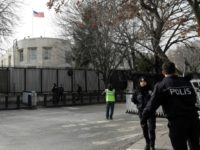 "Police stand guard outside the US embassy in Ankara, on March 5, 2018,after the embassy was closed over a ""security threat""Turkish police detained four Iraqis suspected of planning an attack on the embassy"