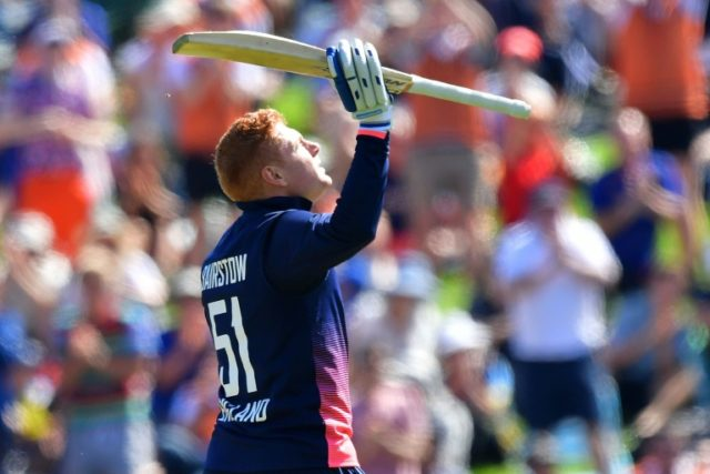 England finished on 335 for nine in the fourth ODI against New Zealand as Jonny Bairstow blazed his way to 138 off 106 balls
