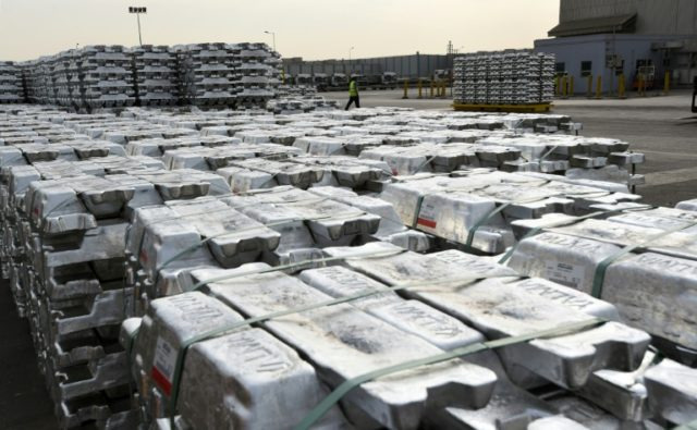 Aluminum ingots, produced by the Maaden Aluminum Factory in Saudi Arabia, pictured in 2016 before US President Donald Trump's threat to place a 10 percent duty on the metal from friendly countries as well as foes