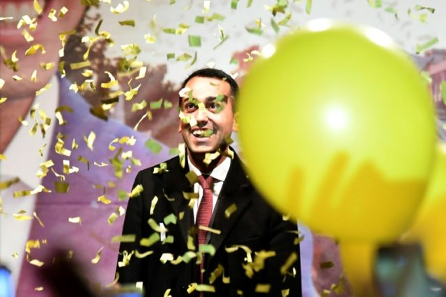 Italy's populist Five Star Movement (M5S) party leader Luigi Di Maio celebrated with supporters in his home town of Pomigliano