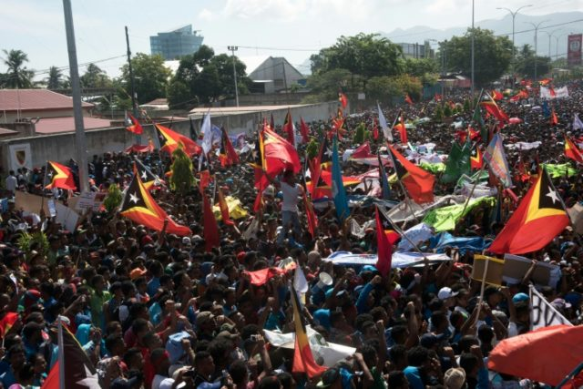 East Timorese protesters hold a rally demanding a permanent maritime border between East Timor and Australia, in Dili on March 22, 2016; the boundary issue has now been resolved Protesters rallied on March 22 outside the Australian embassy in the East Timor capital Dili, demanding Canberra come to the table …