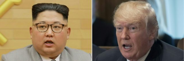 This combination of pictures shows a photo from North Korea's official Korean Central News Agency (KCNA) of North Korean leader Kim Jong Un (L) and US President Donald Trump