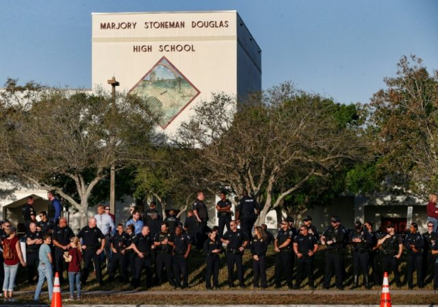 Marjory Stoneman Douglas High School staff, teachers and students return to school greeted by police and well wishers in Parkland, Florida