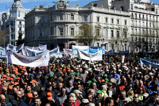 "Thousands of farmers from Spain's parched southeast,  march in Madrid to ask the government for help as their crops are threatened by a ""surreal"" drought that is also putting jobs at risk"