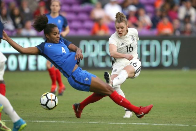 Laura Georges of France and Linda Dallmann of Germany fight for the ball during the SheBelieves Cup soccer match at Orlando City Stadium on March 7, 2018