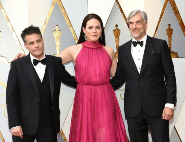 Sebastian Lelio (L) and Daniela Vega arrive for the 90th Annual Academy Awards on March 4, 2018