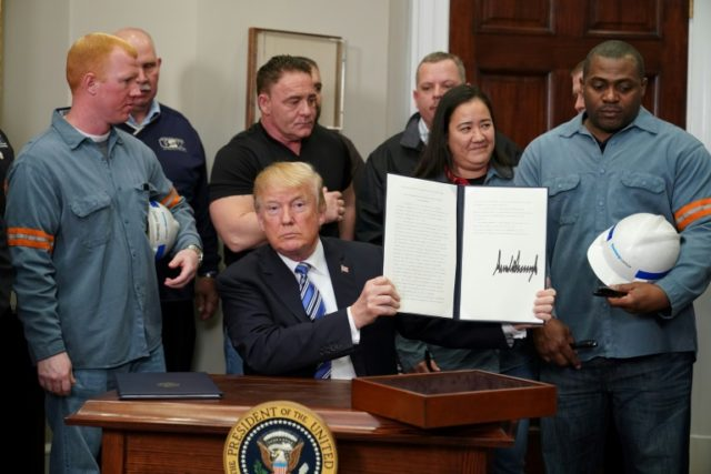 US President Donald Trump signs off on tariffs of 25 percent on imported steel and 10 percent on aluminum