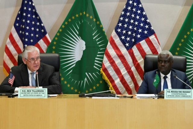 Turn the page: US Secretary of State Rex Tillerson, at a press conference with the African Union's Moussa Faki