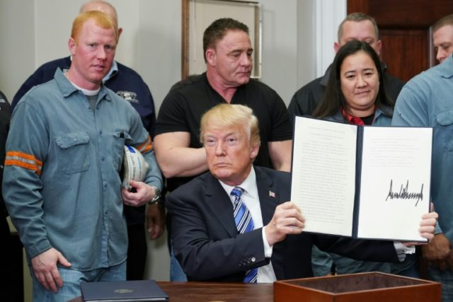 US President Donald Trump rolled out new tariffs of 25 percent on imports of steel and 10 percent on aluminum