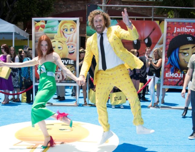 Actor T.J. Miller and his wife Kate Gorney at last year's Hollywood premiere of 'The Emoji Movie,' dubbed the worst film of the year by the Raspberry Awards