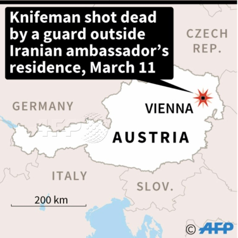 A 26-year-old Austrian was shot dead outside the Iranian ambassador's residence in Vienna after he attacked a guard with a knife