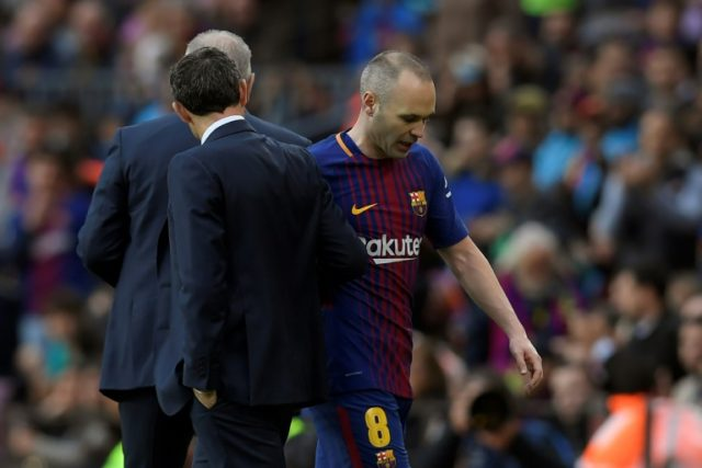 Andres Iniesta hobbled off with a hamstring injury against Atletico Madrid earlier this month
