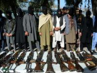 Captured alleged Taliban fighters being presented to the media by police in Jalalabad earlier this month