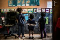 Children at a Soweto centre from where nine pupils aged under five  were found to have been hit by the outbreak
