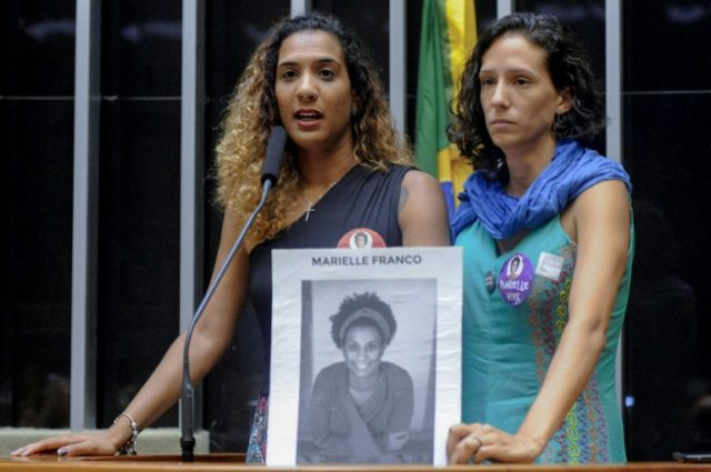 The sister and girlfriend of slain councilwoman Marielle Franco, who was murdered in an apparent targeted killing