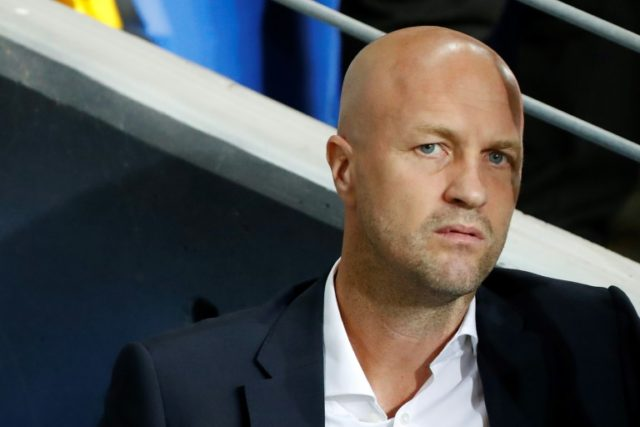 Maccabi Tel Aviv's Dutch boss Jordi Cruyff, seen here ahead of a Europa League group match against Villarreal on September 28, 2017, is to step down as coach of the Israeli side at the end of the season