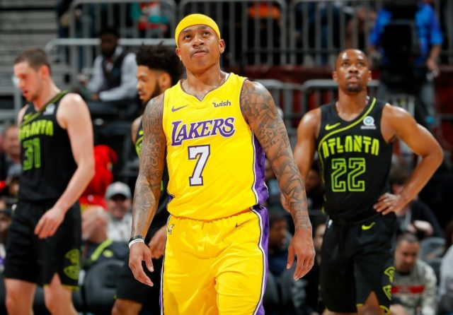 Isaiah Thomas of the Los Angeles Lakers reacts during the game against the Atlanta Hawks at Philips Arena on February 26, 2018 in Atlanta, Georgia