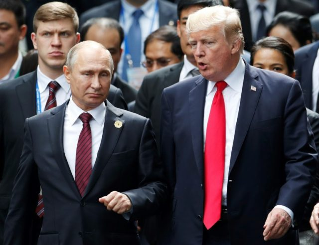 """Russian President Vladimir Putin, pictured with his US counterpart Donald Trump in November, """"remains open"""" to Washington"""