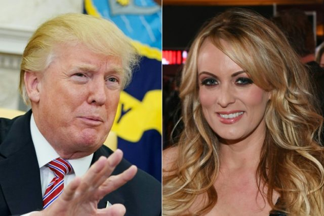 "The White House said US President Donald Trump (L) ""has strongly, clearly and has consistently denied"" allegations of sexual liaison with Stormy Daniels (R)"