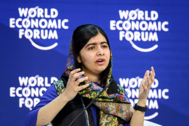 Nobel peace laureate Malala Yousafzai -- shown here at the World Economic Forum (WEF) annual meeting in Davos in January -- is back in her native Pakistan for her first visit since being shot in the head
