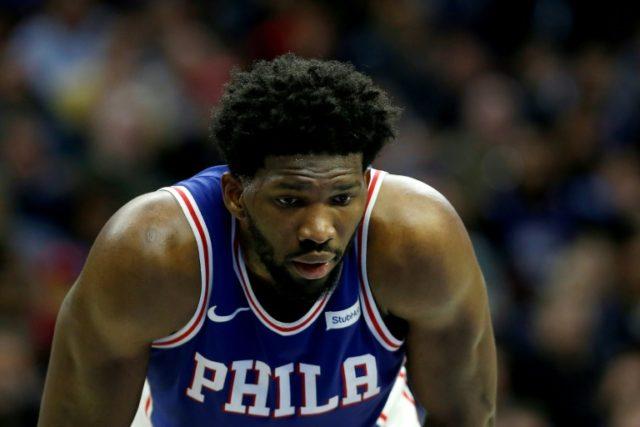 Joel Embiid of the Philadelphia 76ers looks on San Antonio Spurs at Wells Fargo Center on January 3, 2018 in Philadelphia, Pennsylvania