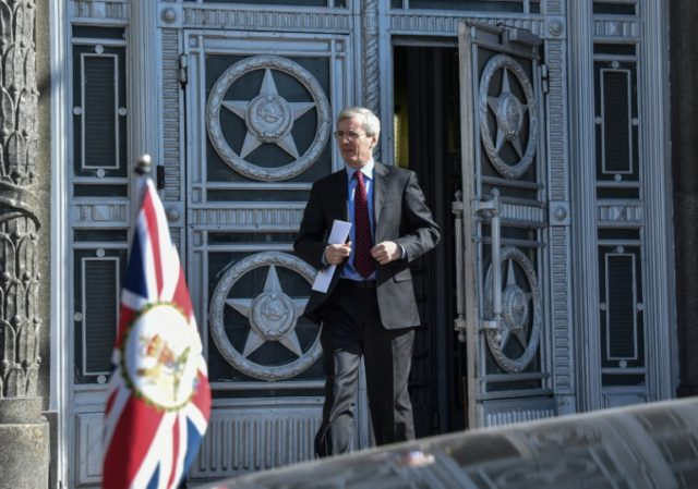 British ambassador to Russia Laurie Bristow leaves the Russian Foreign Ministry headquarters in Moscow on Friday