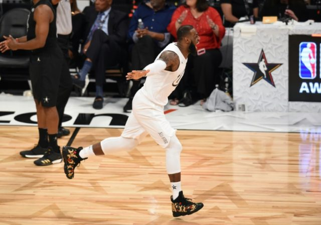 LeBron James, seen here celebrating as Team LeBron defeated Team Stephen 148-145 at the 2018 NBA All-Star Game in February, has now passed basketball legend Michael Jordan's record consecutive games with at least 10 points