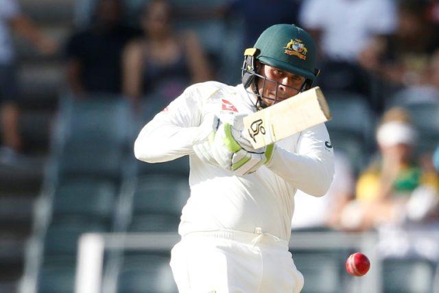 Leading scorer: Australian batsman Usman Khawaja on his way to 53 on Saturday