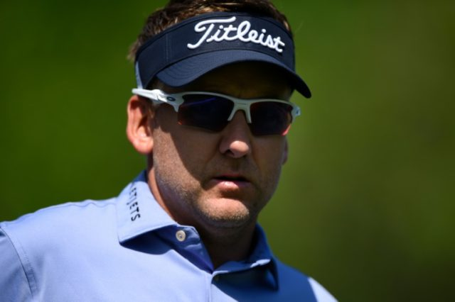Ian Poulter of England looks on from the second tee during the first round of the Houston Open at the Golf Club of Houston on March 29, 2018 in Humble, Texas