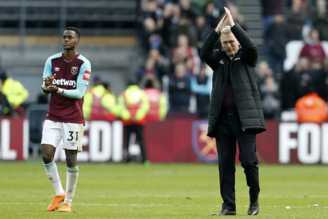 West Ham manager David Moyes applauds the home fans at the London Stadium after a crucial win over fellow strugglers Southampton