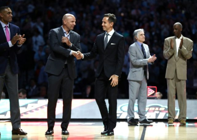 2018 Naismith Hall of Fame Inductees Jason Kidd and Steve Nash are introduced during the 2018 NCAA Men's Final Four Semifinal between the Michigan Wolverines and the Loyola Ramblers