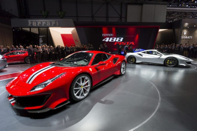The Latest: Flashy Ferrari unveils 488 Pista at Geneva show
