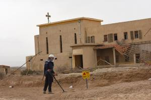 Workers begin clearing land mines from holy site in West Bank