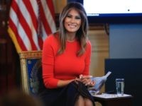 First lady Melania Trump speaks during a discussion with students regarding the issues they are facing in the Blue Room of the White House in Washington, Monday, April 9, 2018. (AP Photo/Manuel Balce Ceneta)