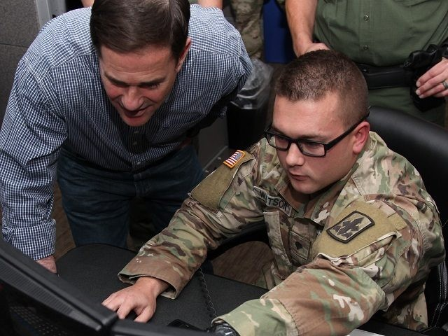 AZ Governor Ducey with National Guardsman near border