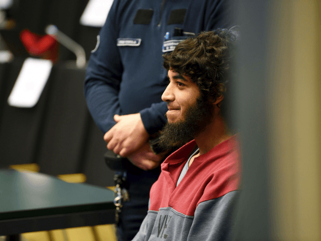 Defendant Moroccan Abderrahman Bouanane waits for the start of his trial in prison in Turku, Finland on April 9, 2018. Bouanane is accused of two murders and 8 murder attempts, with terrorist intent, when he committed the knife attack in Turku on August 18, 2017. / AFP PHOTO / Lehtikuva …