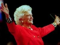 First Lady Barbara Bush greets the delegates atten