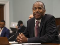 Housing and Urban Development Secretary Ben Carson takes his seat before testifying before a House Committee on Appropriation subcommittee hearing on Capitol Hill in Washington, Tuesday, March 20, 2018. (AP Photo/Pablo Martinez Monsivais)